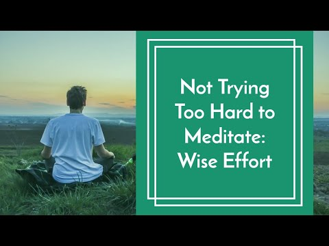 Not Trying Too Hard to Meditate: Wise Effort
